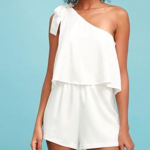 White One Shoulder Romper
